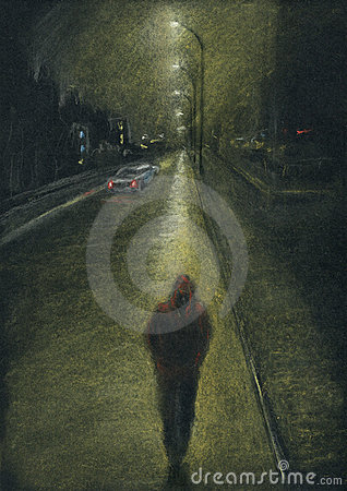 Free Lone Man On The Night City Road Stock Photo - 20741450