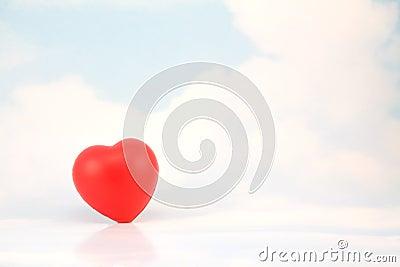 Lone Red Heart in Sky