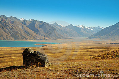 Lone rock at Lake Tekapo
