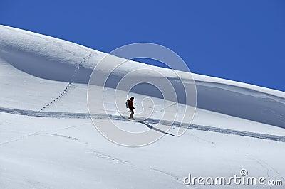 Lone skier off trail