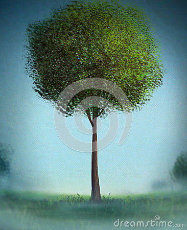 Lone Tree - Digital Painting