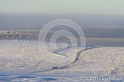 Lone truck in snowy landscape