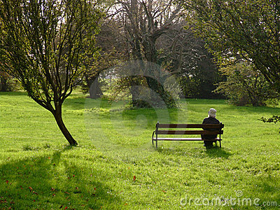 Lone woman in a park