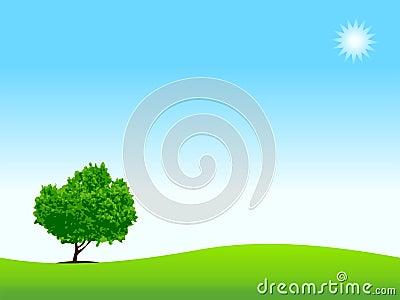 Loneliness, tree on meadow