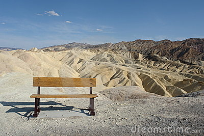 Lonely bench on Death Valley