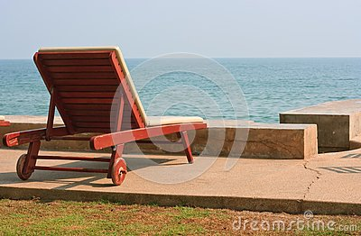 Lonely Chair On Hua-Hin Beach Stock Image - Image: 16081131