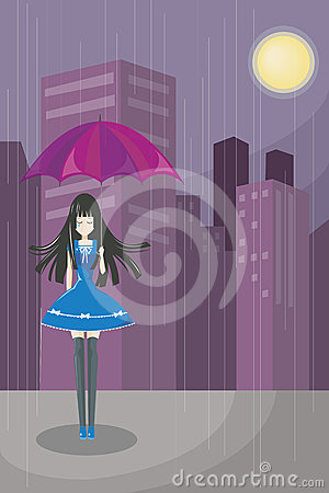 Lonely Cute Girl (vector)