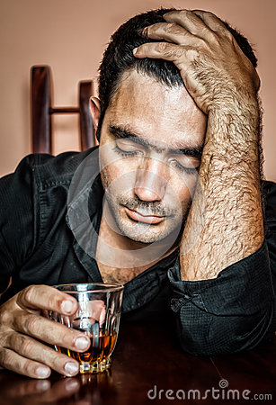 Lonely and desperate drunk hispanic man