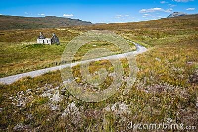 Lonely farmhouse near curvy road