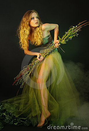 Free Lonely Girl In A Long Green Dress Royalty Free Stock Photo - 20532375