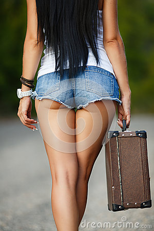 Free Lonely Girl With A Suitcase On A Country Road ... Stock Images - 43859254