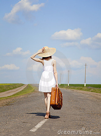 Free Lonely Girl With Suitcase At Country Road. Royalty Free Stock Photography - 23423117
