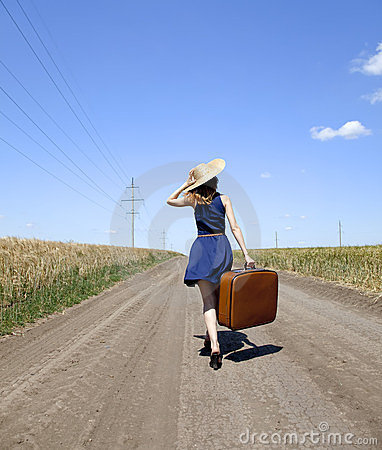 Free Lonely Girl With Suitcase At Country Road. Royalty Free Stock Images - 23825779