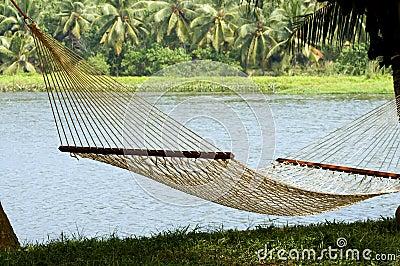 Lonely hammock in beautiful resort
