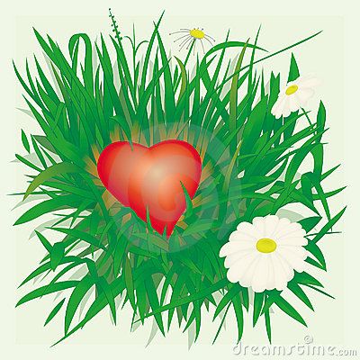 Lonely heart in grass