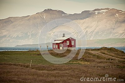 Lonely House at coastline in North Iceland
