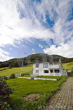 Lonely house on hill,Norway