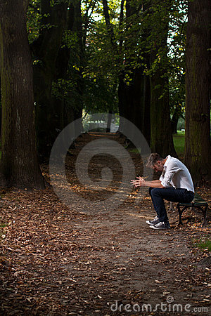 Lonely man in the park