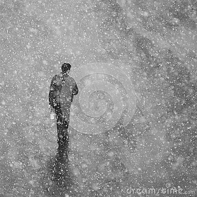 Free Lonely Man Walking On The Street In Snow. A Man In A Jacket Goes Royalty Free Stock Photography - 90122207