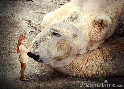 Lonely Polar Bear with Little Child Friend