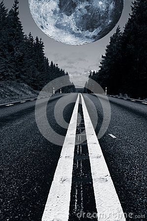 Free Lonely Road With A Giant Surreal Moon Stock Photo - 49178360