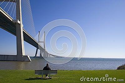 Lonely senior by the bridge