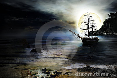 Lonely ship  background
