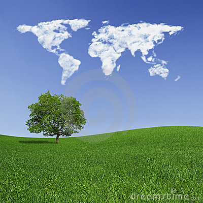 Lonely tree and world map clouds