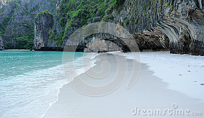 Lonely white sand beach