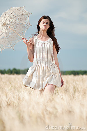 Free Lonely Woman Walking In Wheat Field. Timed. Stock Photography - 17393752