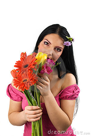 Free Lonely Woman With Spring Flowers Stock Photos - 8612923