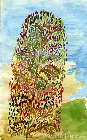 Long arbre d automne