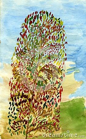 Long autumn tree