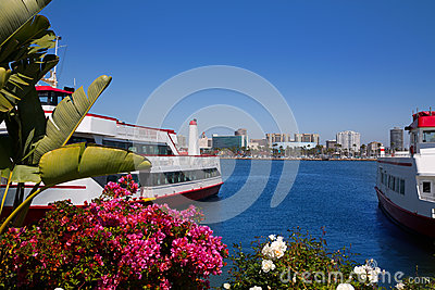 Long Beach California skyline from flowers port