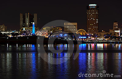 Long Beach Waterfront skyline at Night Editorial Stock Image