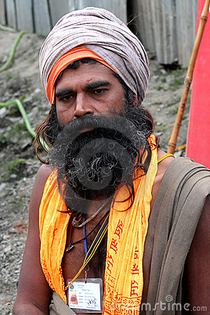A long beard Sadhu Baba Editorial Stock Photo