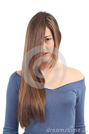 Long and beautiful straight hair of a woman