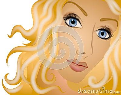 Long Blonde Curly Hair Woman