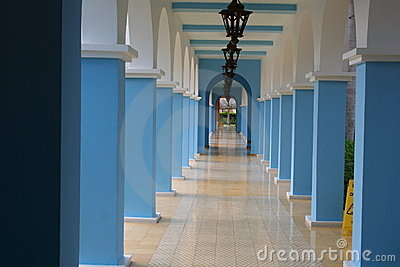 Long blue and white hallway