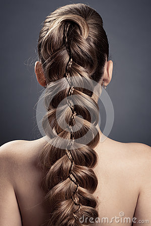 Free Long Brown Hair. Back View Royalty Free Stock Photos - 26373618