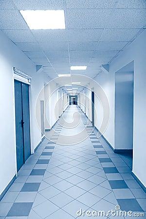 Long corridor in scientific laboratory