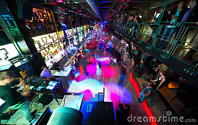 Long dance floor with dancing people Editorial Stock Photo