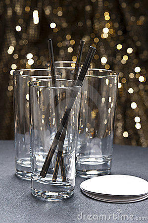 Free Long Drink Glasses With Straws And Coaster Stock Photo - 23320500