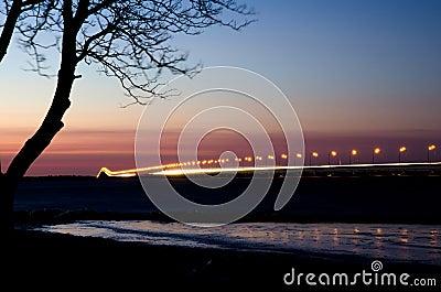 Long eurpoean bridge in sunset