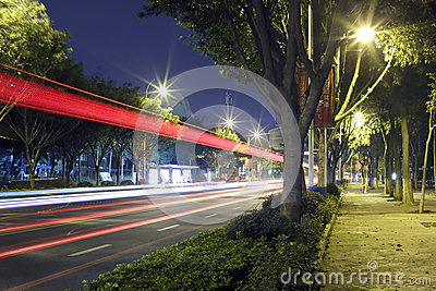 Long exposure image of cars rushing over a road Editorial Image
