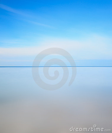 Long exposure photo. Horizon line, sea and sky