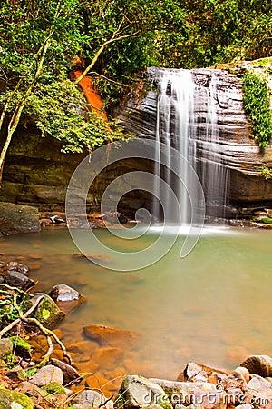 Long exposure of quaint waterfall