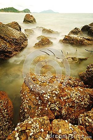 Long exposure of rocks on sea