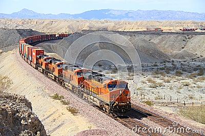 USA, California/Mojave Desert: Long BNSF Freight Train  Editorial Photo