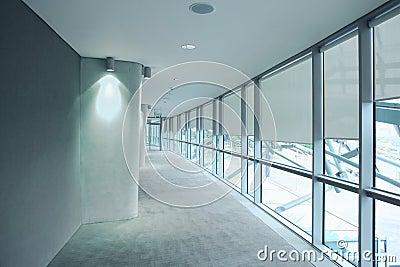 Long gray hallway in an stadium Aviva Editorial Photography